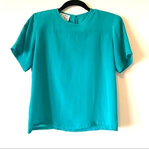 Vintage Teal Short Sleeve Blouse New Editions